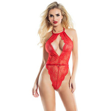 Sexy Teddy Women Lingerie Plus Size Body Transparent Halter Deep V-neck Suit Hot Erotic Underwear Lace Gown