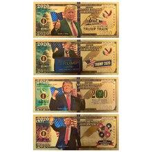 4 pçs/lote Donald Trump 2020 Dinheiro Falso Ouro Notas de Dólar EUA Dinheiro Prop Banco America Notas Personalizado Presente Dropshipping