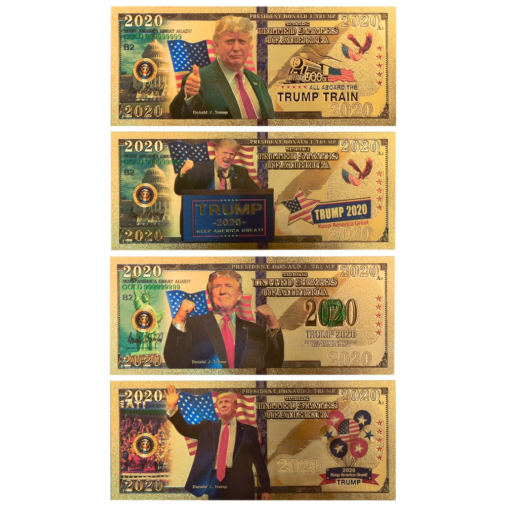 4pcs/lot Donald Trump 2020 Fake Money USA Dollar Gold Banknotes Prop Money America Bank Notes Personalized Gift Dropshipping image
