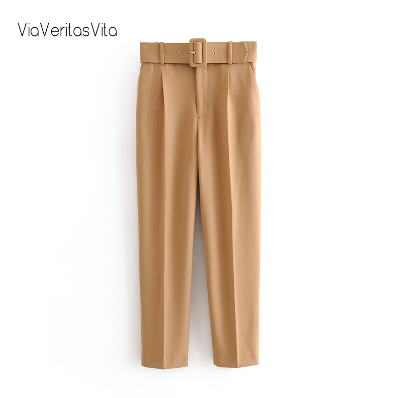 New Womens Winter Pants Trousers high waist casual solid office Pants with belt yellow zora straight Pants Sweatpant Capris 2020