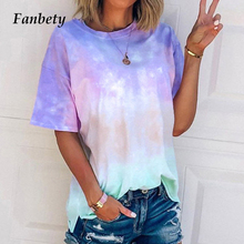 Women 2020 Fashion Tie Dye Print Blouse Shirts Sexy V Neck Halter Short Sleeve