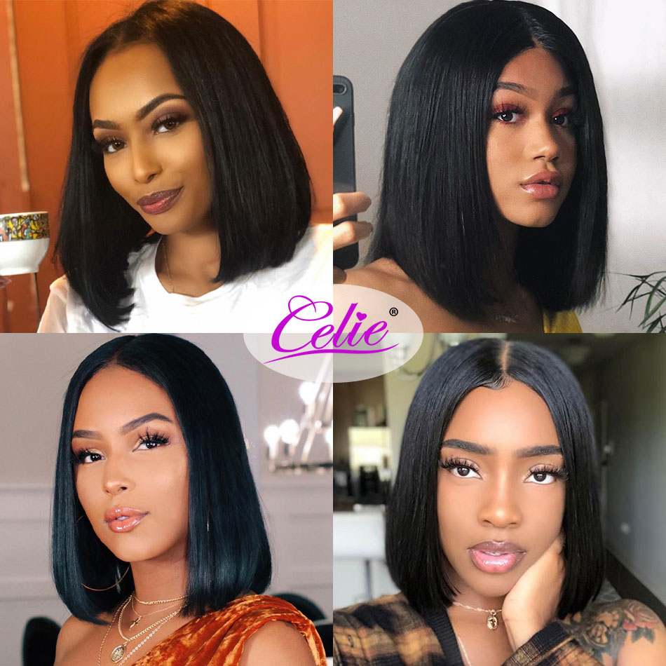 Celie Hair Short Bob Lace Front Wigs For Black Women Remy 13x4 Straight Lace Front Human Hair Wigs Pre Plucked With Baby Hair