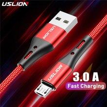 Uslion 3a micro cabo usb carga rápida cabo de dados usb para samsung s6 xiaomi redmi nota 4 android microusb cabo do telefone móvel