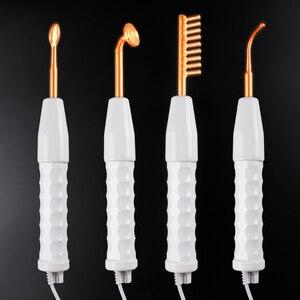 Image 2 - 4 w 1 wysokiej częstotliwości elektrody szklane rurki elektroterapia różdżka urządzenie kosmetyczne pielęgnacja skóry trądzik miejsce zmarszczki Remover Salon domu