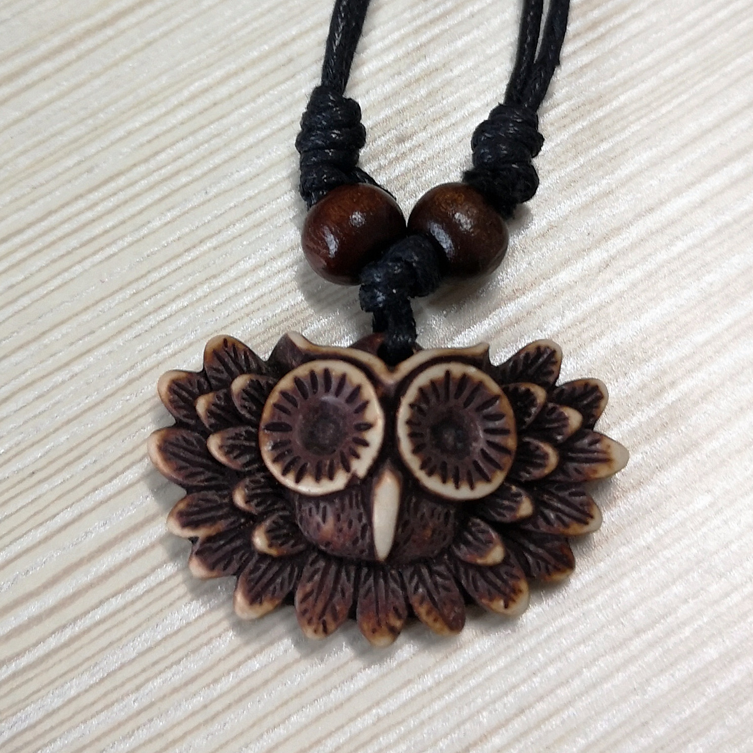 Tribal Lovely Brown Owl Charms Pendant Adjustable Necklace Men Women's Jewelry Gift MN171(China)