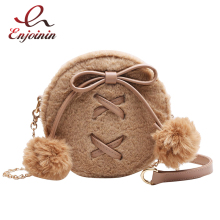 Round Faux Fur Cute Pu Leather Fashion Women Shoulder Bag Crossbody Bag Purses and Handbags Femael Casual Hand Bag