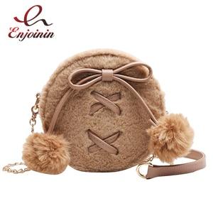 Image 1 - ラウンドフェイクファーのかわいいpuレザーファッションの女性のショルダーバッグクロスボディバッグ財布とハンドバッグfemaelカジュアルハンドバッグ