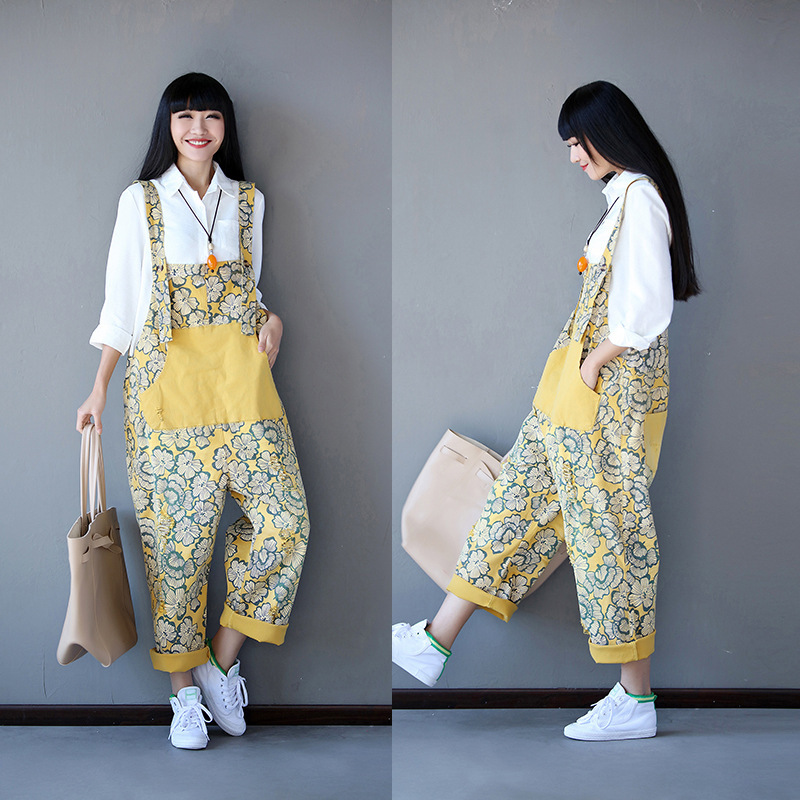 Fashion 2020 New Style Literary Retro Oversize Suspenders Women's Loose Day With Large Flower Suspenders