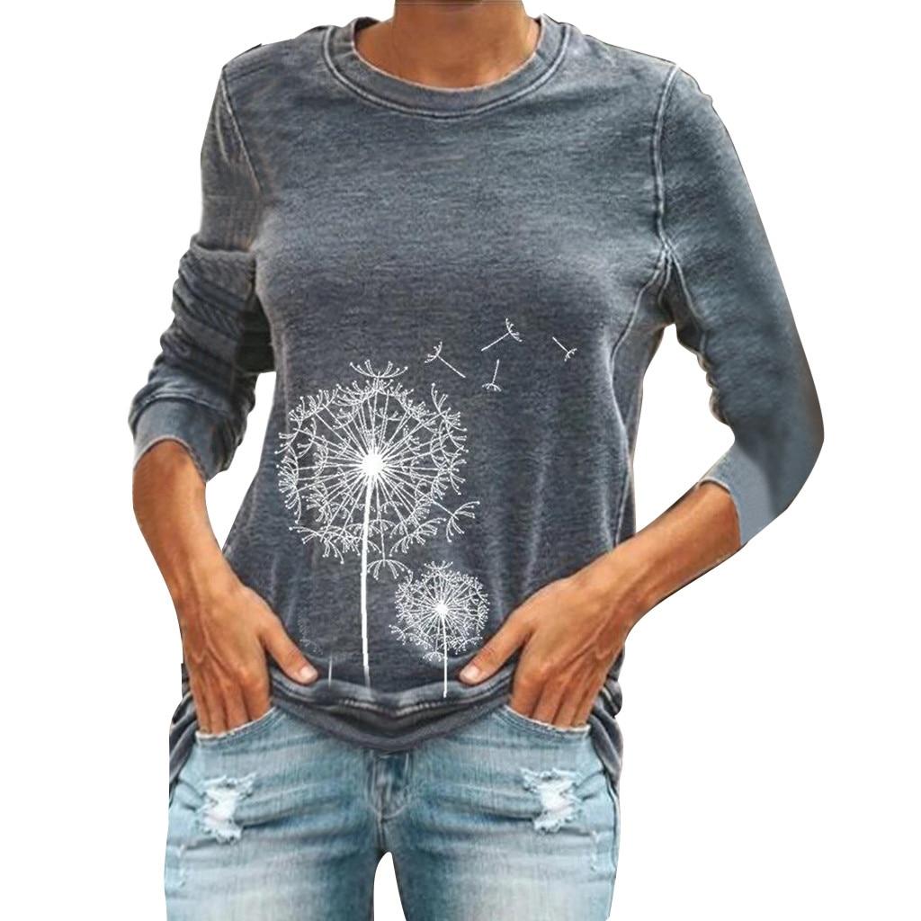 Jaycosin Fashion Autumn Women Loose Dandelion Printed Round Neck Sweatshirt Stylish Long Sleeve Comfortable Casual Blouse 108#10