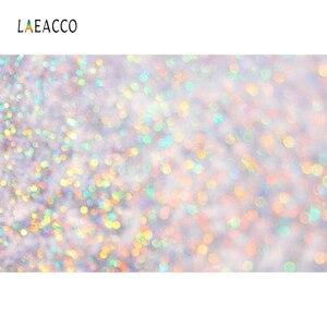 Image 3 - Laeacco doğum günü partisi Photophone ışık Bokeh Glitters Polka Dots bebek duş yenidoğan portre fotoğrafçılığı arka planında arka