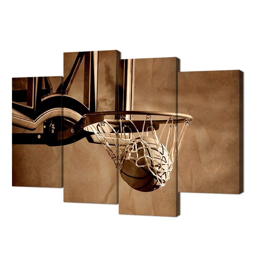 Affiche de basket-ball, impression sur toile tir d'action de basket-ball passant par le cerceau de basket-ball et l'image nette livraison directe