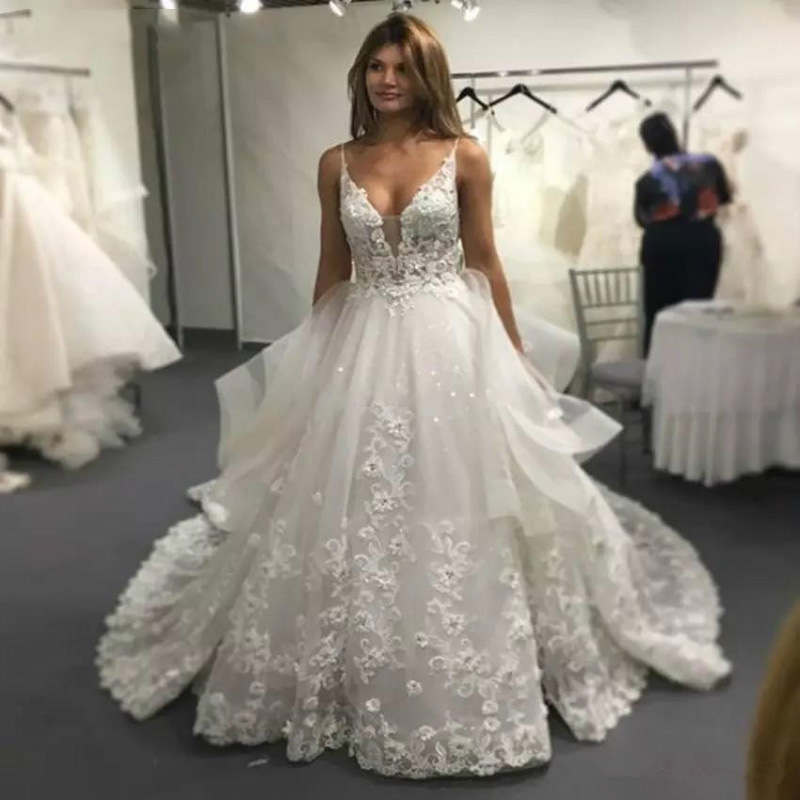 Eightale Lace Wedding Dresses 2020 A Line Spaghetti Strap V Neck Backless Boho Wedding Gowns Bead Lace Appliques Gowns For Bride