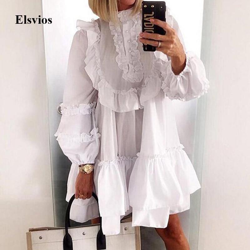 Autumn Lantern Long Sleeve Dress Women Sexy Ruffle Neck Button Loose Mini Dress White Elegant Ladies A-Line Party Dress Vestidos