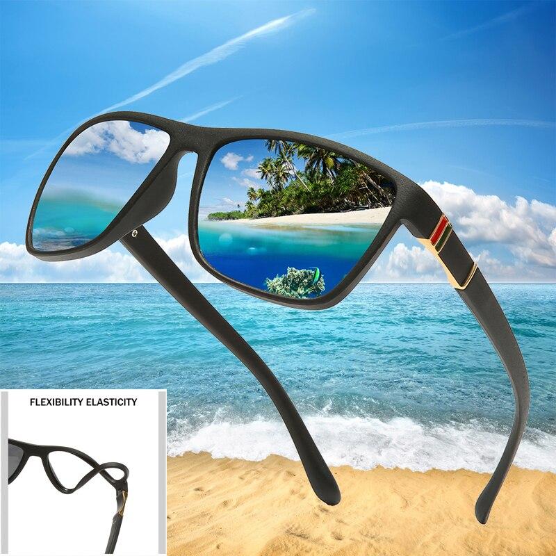 Tr90 Polaroid Sunglasses Square Flexible Driving Rubber Square Sun Glasses Famous Brand Men Polarized Sunglases For Women Men