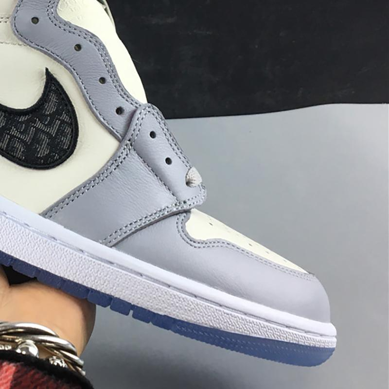 Diors x Air 1 High OG Diores CK6636-101 1s White Grey Women Men Basketball Sports Shoes Sneakers Trainers High Quality With Original Box