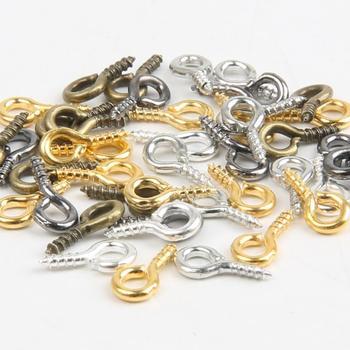 200pcs 4x8mm Mini Eye Pins Eyepins Hooks Eyelets Screw Bail Peg Threaded Clasps For Jewelry Making DIY Charm Earring Connectors - discount item  30% OFF Jewelry Making