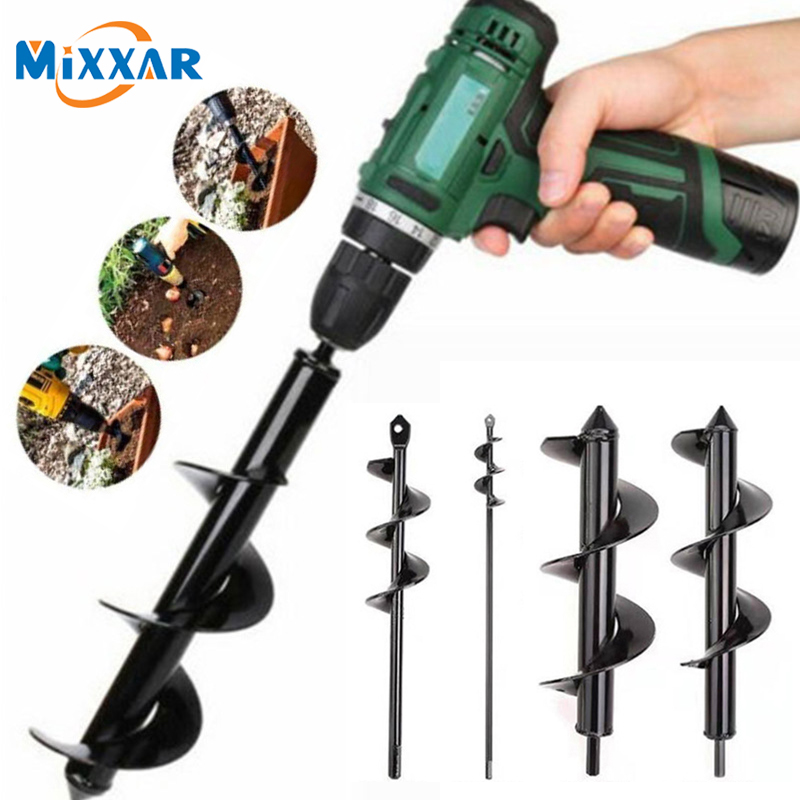 ZK40 Drop Ship Garden Spiral Drill Bit Set  Non-Slip Hex Drive HEX Shaft Drill Post Soil Cultivator Planting Hole Digger Tool