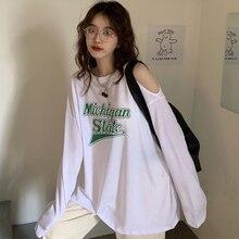 Oversized T-shirt Women Long Sleeve Pink Shirts Letter Print Casual Thin Female Clothing Chic Streetwear Basic Harajuku Tops