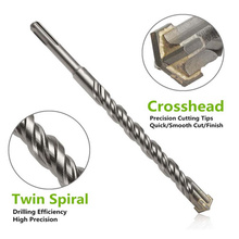 Professional 210mm Drill Bits SDS Plus Masonry Crosshead Twin Spiral Hammer