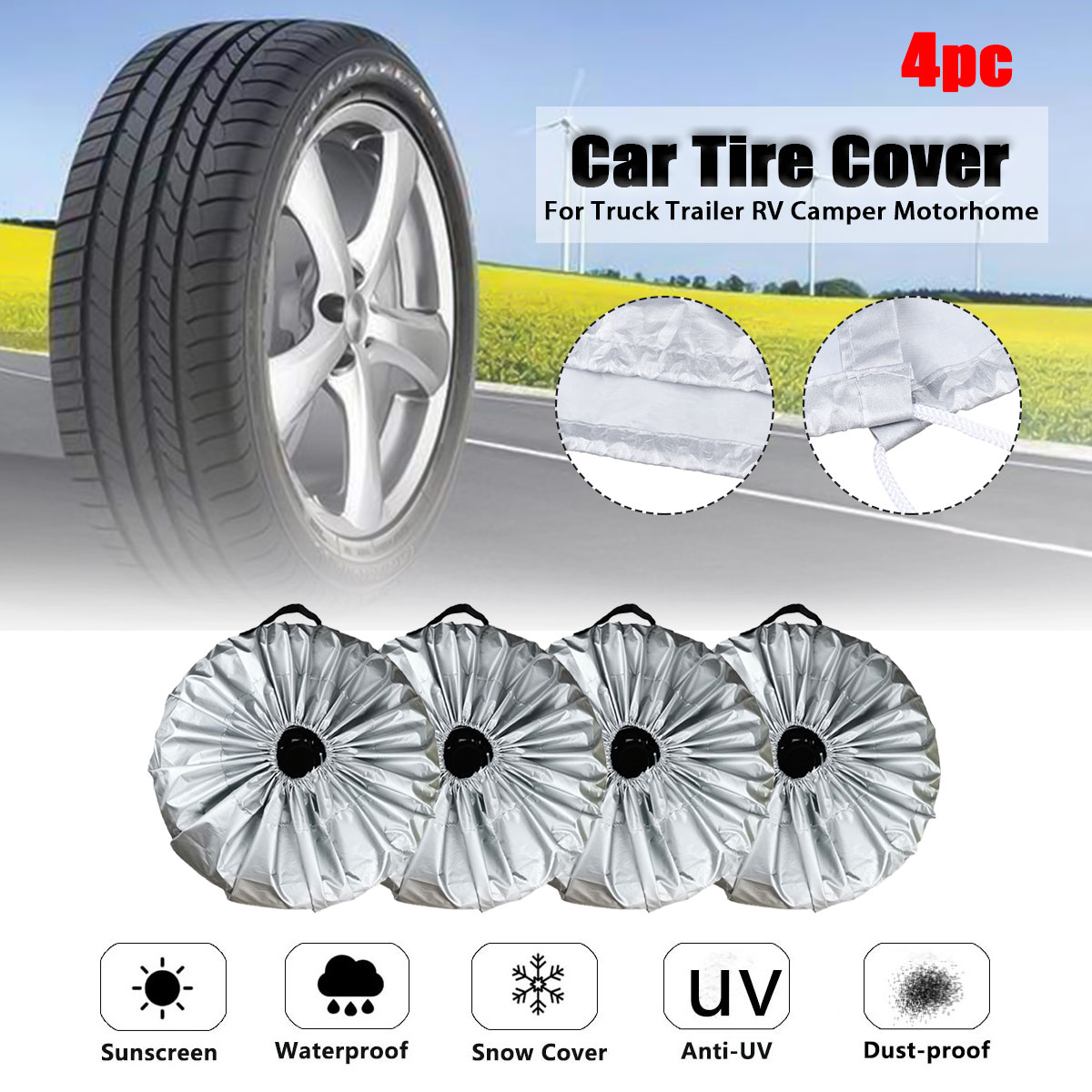 4X Universal 210D Car SUV Tire Cover Case Spare Tires Wheel Bag Tyre Spare Storage Protection Cover Tote Polyester 4 Season