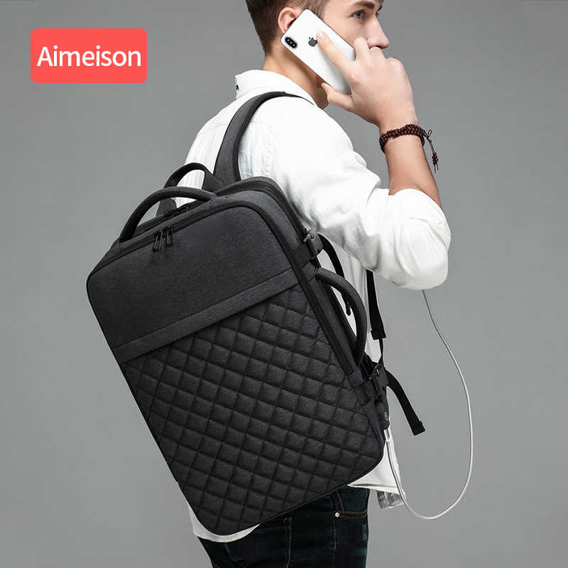Aimeison Men Travel Backpack Large Capacity Male Mochila Back Anti-thief Bag USB Charging  Laptop Backpack Waterproof