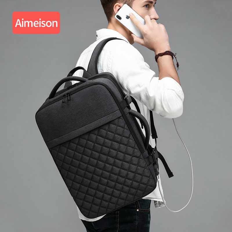 Aimeison Men Travel Backpack Large Capacity Male Mochila Back Anti-thief Bag USB Charging  Laptop Backpack Waterproof