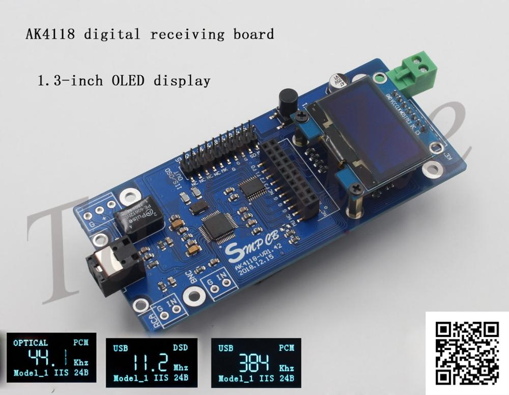 AK4118 Digital Receiver Board SPDIF To IIS Support XMOS/Amanero USB Card OLED Display