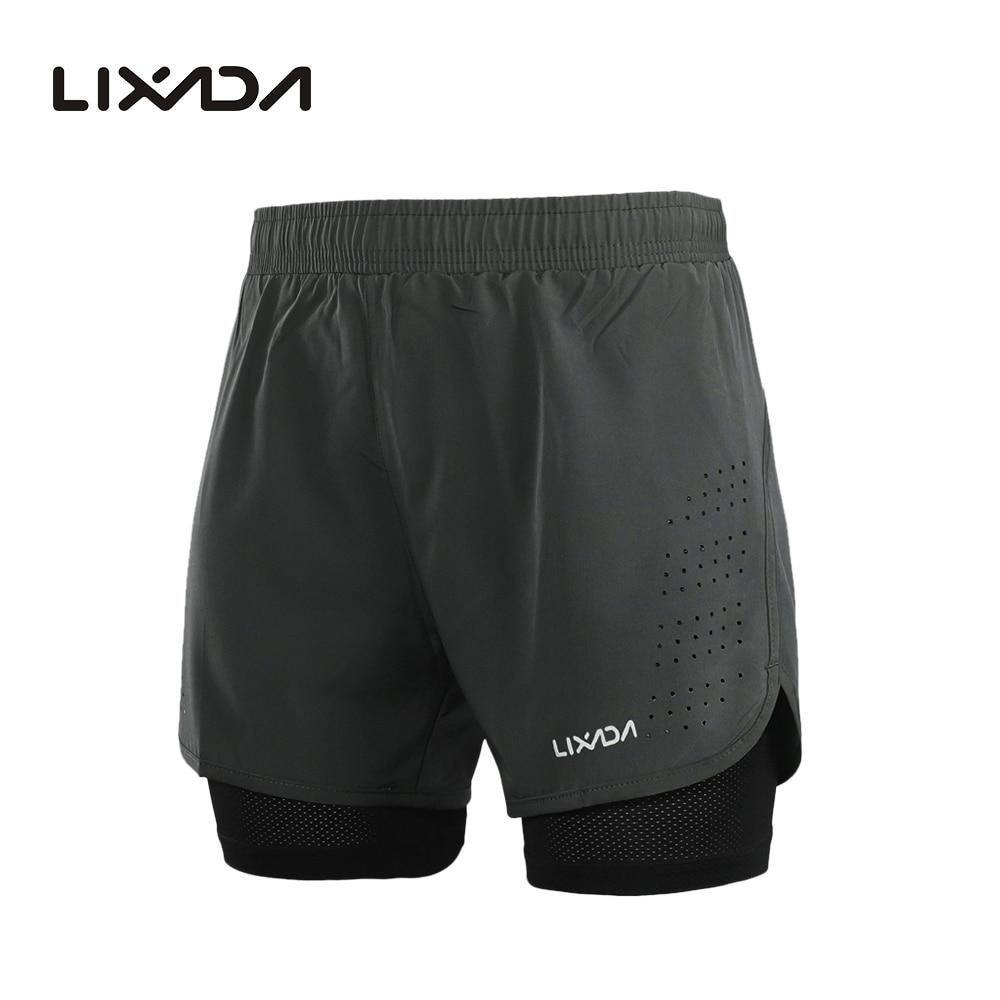 Шорты Lixada мужские спортивные, быстросохнущие дышащие, для активных тренировок, бега, велоспорта с длинной подкладкой