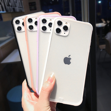 Shockproof Transparent Hybrid Silicone frame Phone Case For iPhone 11 Pro Max X XS XR  8 7 6 6S Plus Matte Clear Soft Back Cover luxury transparent matte case for iphone 11 pro xs max xr x hybrid shockproof silicone phone case for iphone 6 6s 7 8 plus cover
