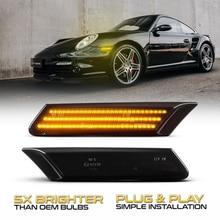 2x Đèn LED Năng Động Bên Cột Mốc LED Tín Hiệu Tuần Tự Blinker Đèn Porsche 911 Carrera Targa Turbo 997 Cayman Boxster 987