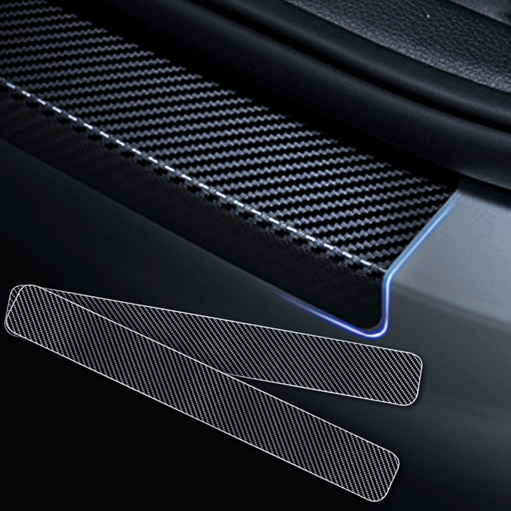Door Sill Protectors Carbon Fiber Vinyl Sticker Blue 4Pcs