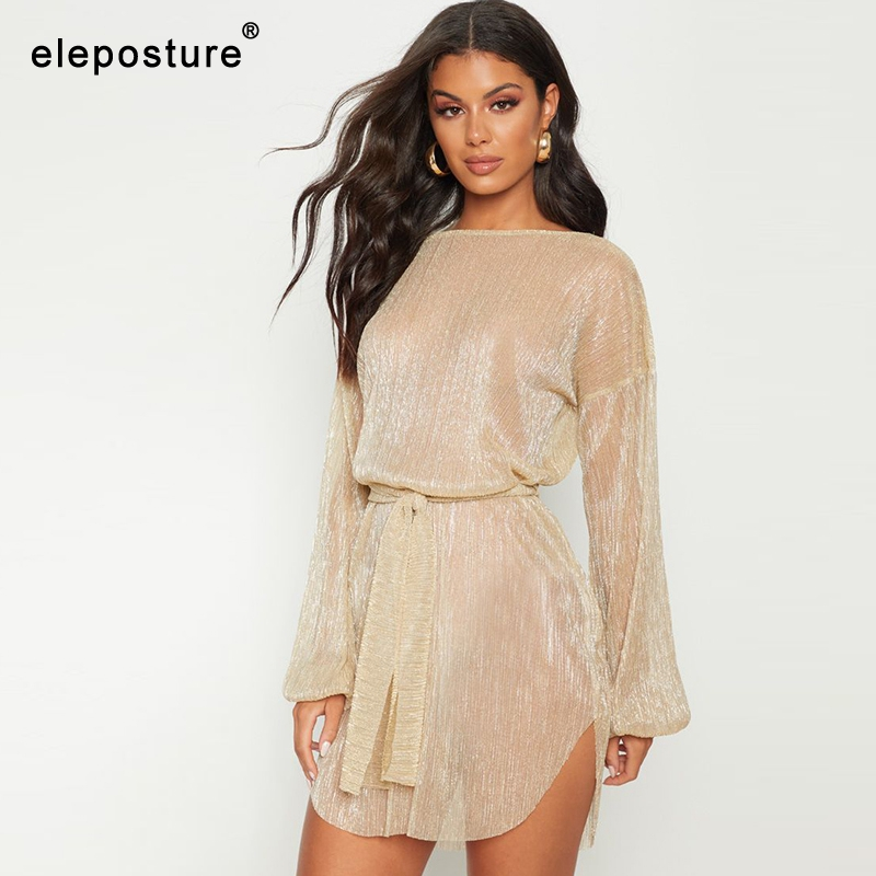 2019 Sexy Transparent Beach Dress Women Bikini Swimsuit Cover Up Long Sleeve Tunics Swim Dress Bathing Suits Cover-Ups Beachwear