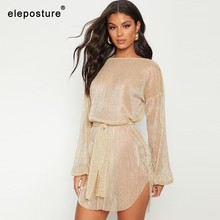 2019 Sexy Transparent Beach Dress Women Bikini Swimsuit Cover Up Long Sleeve Tunics Swim Dress Bathing Suits Cover-Ups Beachwear(China)