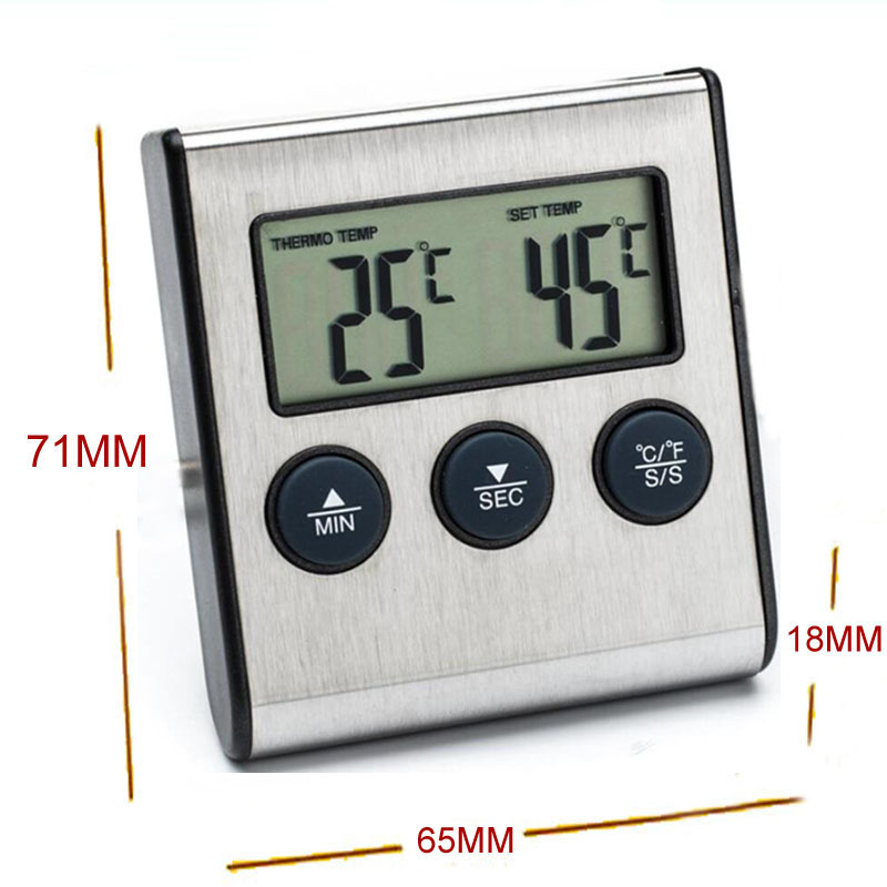 Digital Oven Thermometer Kitchen Food Cooking Grilling Meat BBQ Thermometer and Timer Water Milk Wine Liquid Temperature Probe 3
