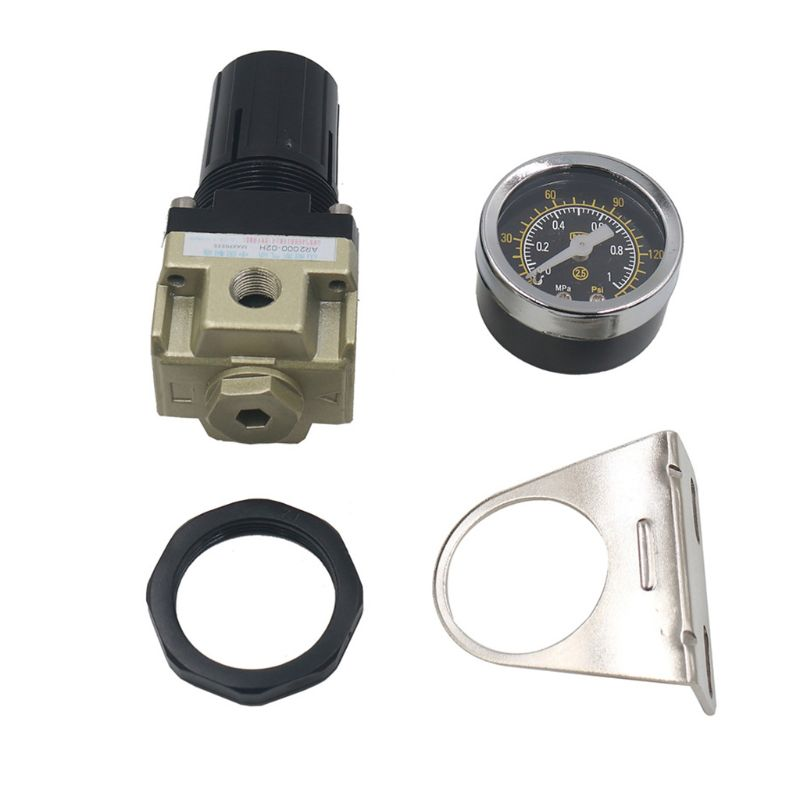 AR2000-02 Air Pressure Regulator For Air Compressor System Gauge Pneumatic Reducing Valve Aluminum Material Source Pipe