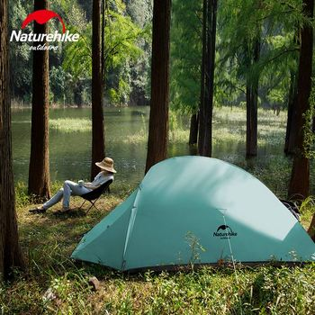 Naturehike New 2 Person Ultralight Professional Camping Tent 20D Silicone Windproof Outdoor Hiking Backpacking Tent Free Mat 4