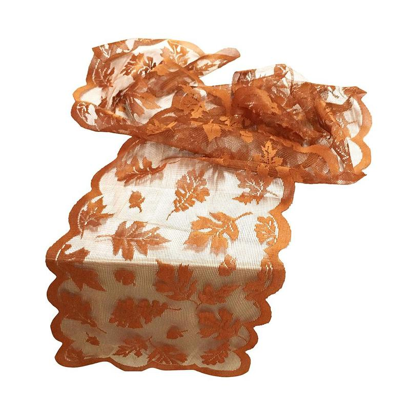 1piece Thanksgiving Autumn Harvest Pumpkin Maple Leaf Lace Table Flag Dinner Restaurant Decoration Halloween / Party Supplies