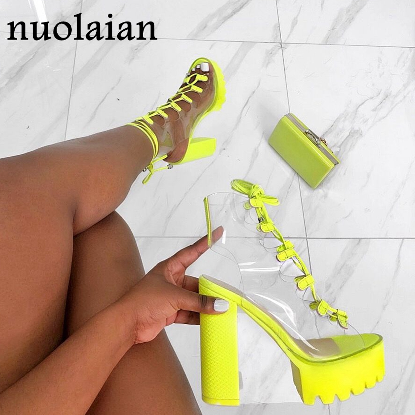 12CM High Heel Shoes For Woman PVC Platform Pumps Lady Party Pump Shoes Ankle Strap Boot Womens High Heels Peep Toe Chaussure