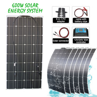 flexible 100w 6pcs 600W solar panel off grid battery charging system lightweight DIY module for household