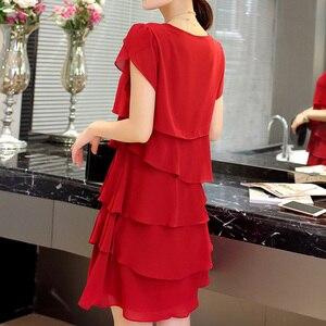 Image 2 - Vestido casual feminino, chiffon verão a nova moda plus size 5xl solto casual plissado vermelho para moças elegante festa coquetel