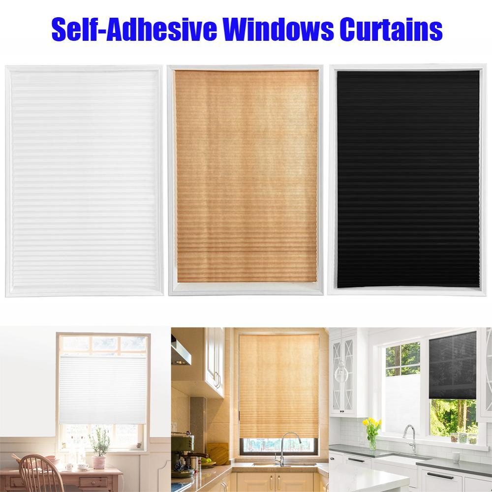 Self-Adhesive Pleated Blinds Half Blackout Bathroom Windows Thin Curtains Shades