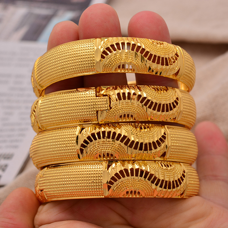 24K Ethiopian Wave 4pcs/Lot Dubai Trendy Wedding Bangles for Women Arab African Gold Color Bracelet Jewelry Middle East Gifts