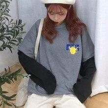 Autumn Female T-shirt Korean Harajuku T Shirt Women Fake Two Pieces Womens Tee Tops Printing Long Sleeve Tshirt