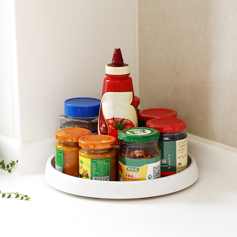 Rotatable Spice Jars Rack Plastic Non Slip Turntable Condiment Holder Cupboard Revolving Storage Tray For Kitchen Storage hot|Storage Trays| |  - title=