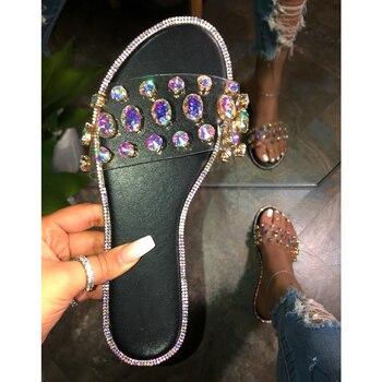 New Women Slippers Bling Crystal Flat Sandals Fashion Rhinestone Ladies Slippers Slides Fashion Glitter Female Basic Slipper D30 цена 2017
