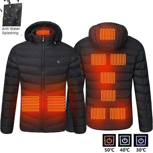 2021 NWE Men Winter Warm USB Heating Jackets Smart Thermostat Pure Color Hooded Heated Clothing Waterproof  Warm Jackets 6