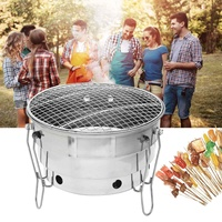 Foldable Stainless Steel Barbecue Stove Portable Charcoal BBQ Grill Cooking Outdoor Camping Burner Patio Stove Family Party