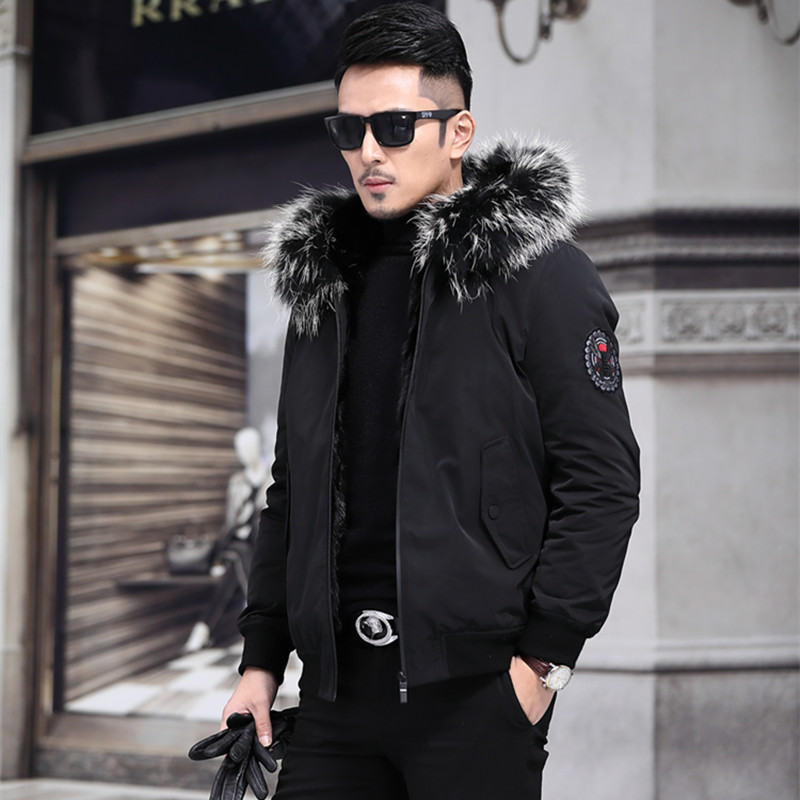 2020 Parka Real Fur Coat Men Hooded Winter Jacket Mink Fur Liner Raccoon Fur Collar Short Warm Mens Mink Jackets Parkas