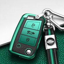 Чехол для автомобильного ключа из ТПУ и кожи volkswagen vw golf