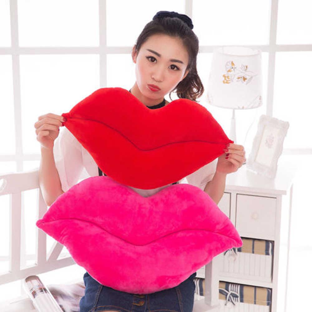 뜨거운 판매 캐주얼 30cm 크리 에이 티브 핑크 레드 입술 모양 쿠션 홈 장식 던져 베개 소파 허리 쿠션 홈 섬유 쿠션